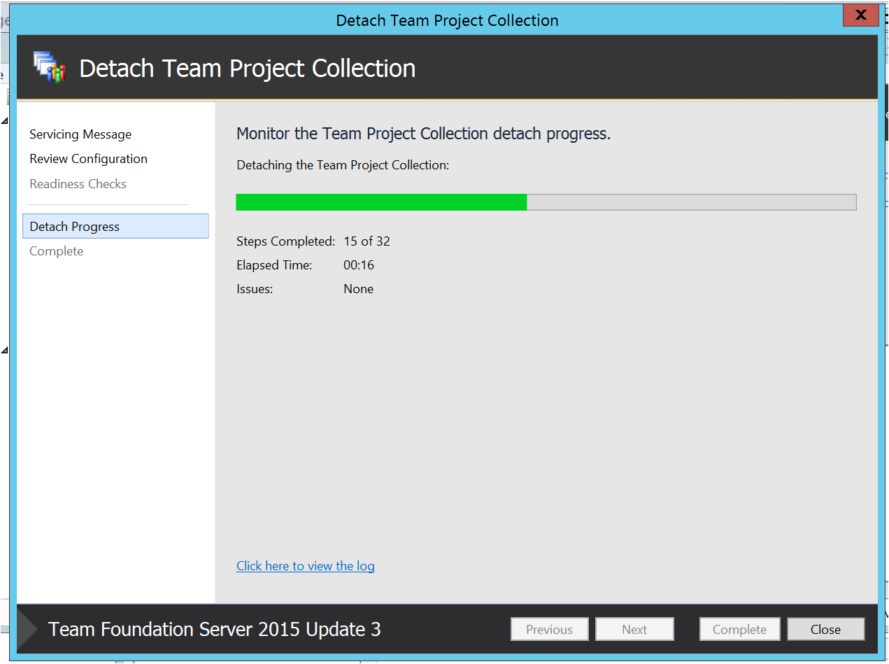 ... TFS Server. c. Take the Full back up of the Project collection database.
