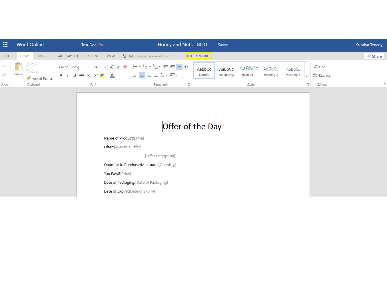 Create Custom Document Template from SharePoint List using Microsoft Flow