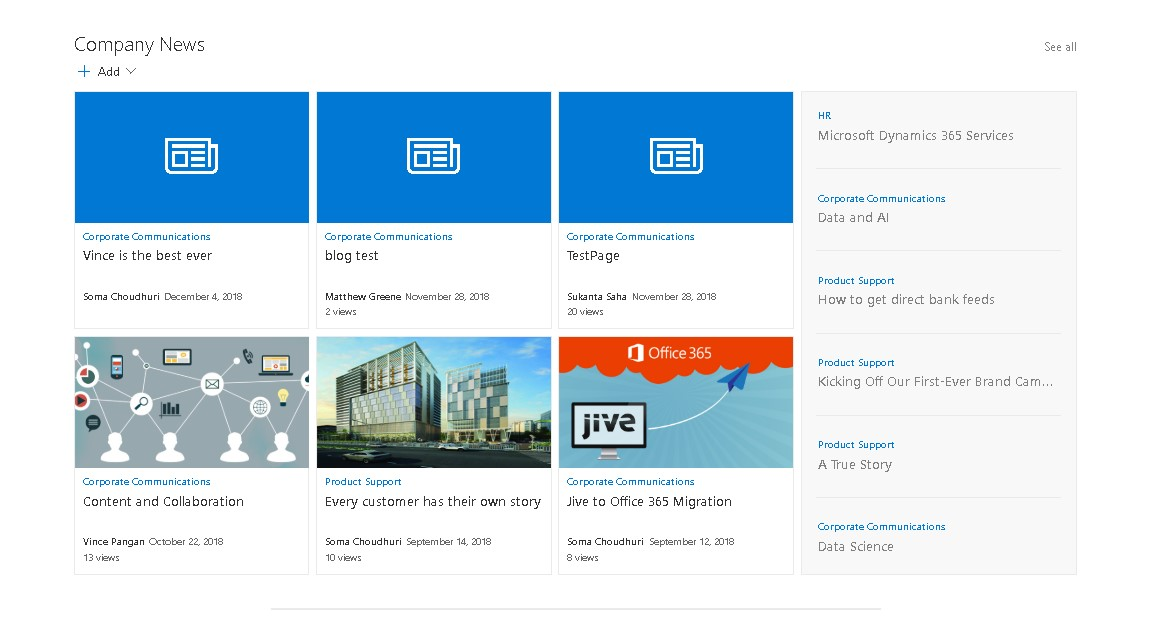 Jive Overview and Modern SharePoint Page with 10 Customized Web parts - Part 2