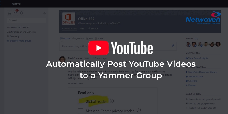 Automatically Post YouTube Videos to a Yammer Group