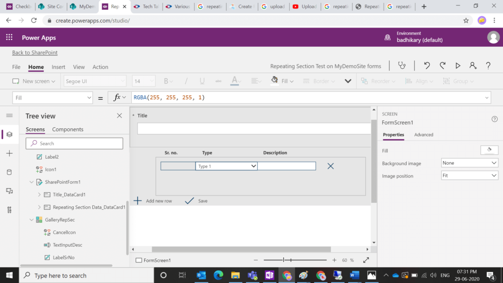 How to create Repeating Section in PowerApps and save data to SharePoint List