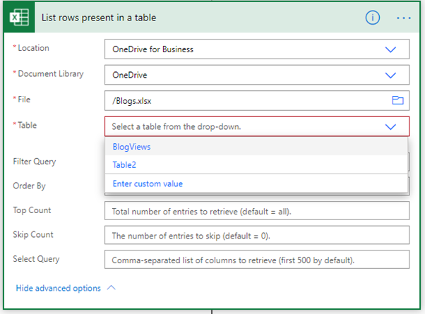 Microsoft Flow to List and Update Online Excel Table Rows