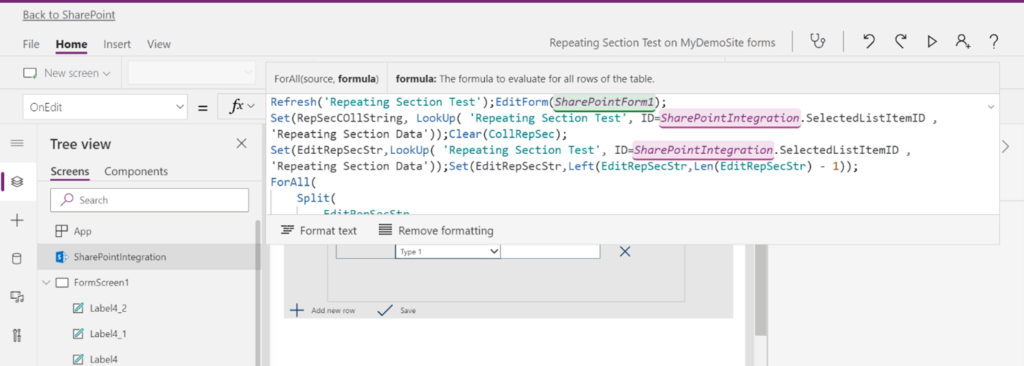 Showing Repeating Section Data from SharePoint List in Power Apps